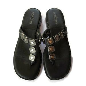 Minnetonka Sandals Slides BLACK Silver Details 9